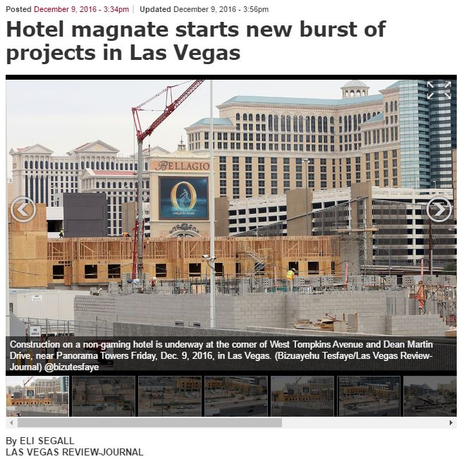 Las Vegas Review Journal – Hotel magnate starts new burst of projects in LV